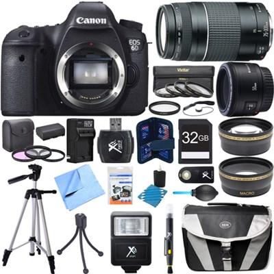 EOS 6D 20.2 MP DSLR Camera w/ 50mm + 75-300mm Lens Super Bundle