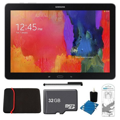 Galaxy Tab Pro 12.2` Black 32GB Tablet, 32GB Card, Headphones, and Case Bundle