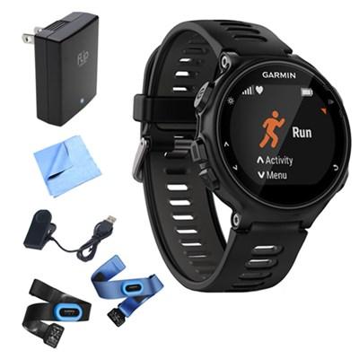 Forerunner 735XT GPS Running Watch (Black/Gray) w/ Accessories Bundle