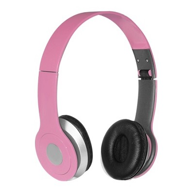 Foldable Over-the-head Headsets with Built-in-mic in Pink