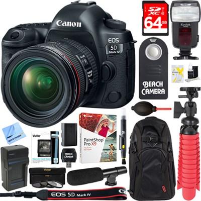 EOS 5D Mark IV DSLR Camera + EF 24-70mm IS USM Lens 64GB Accessory Kit
