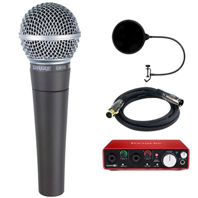 Cardioid Dynamic Vocal Microphone with Cable w/ Interface Bundle