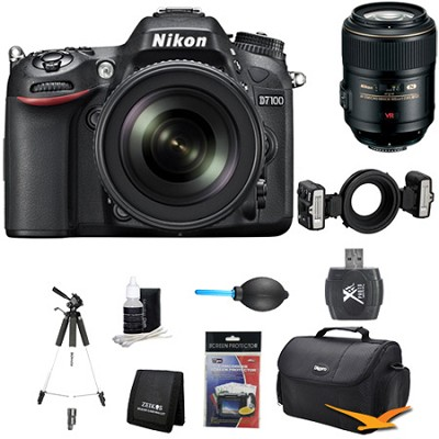 D7100 DX-Format Digital HD-SLR with 18-105mm VR Lens Close up Bundle