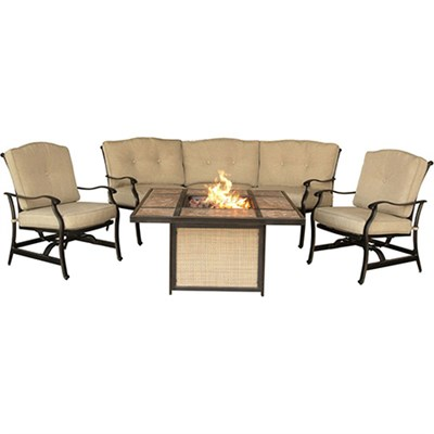 Traditions 4-Piece Chat Set with a Tile-Top Fire Pit - TRADTILE4PCFP