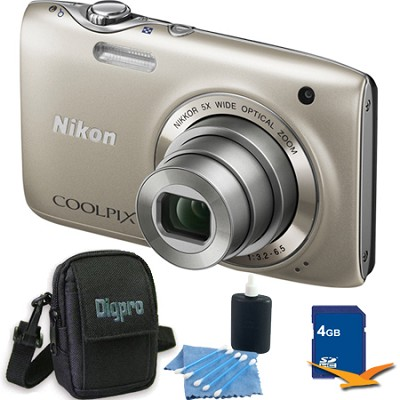 COOLPIX S3100 14MP Silver Compact Digital Camera 4GB Bundle