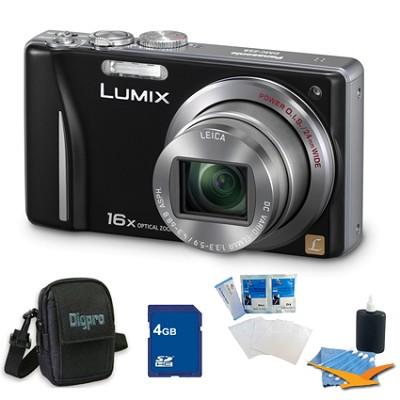 Lumix DMC-ZS8 14MP Black Digital Camera w/ 16x Zoom 4GB Bundle