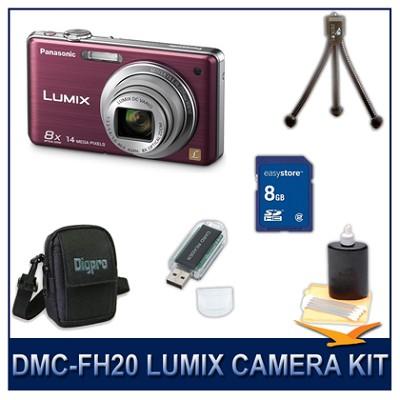 DMC-FH20V LUMIX 14.1 MP Digital Camera (Violet), 8GB SD Card, and Camera Case
