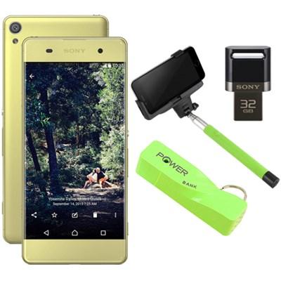 Xperia XA 16GB 5` Smartphone Unlocked Mobile Selfie Bundle - Lime Gold