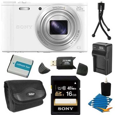 DSC-WX350/W White Digital Camera 16GB Bundle