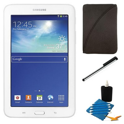 Galaxy Tab 3 Lite 7.0` White 8GB Tablet and Case Bundle