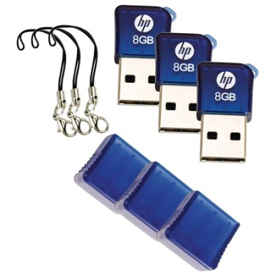 Ultra Compact 8GB USB Flash Drive w/ Carrying Key-Fob 3 PACK!