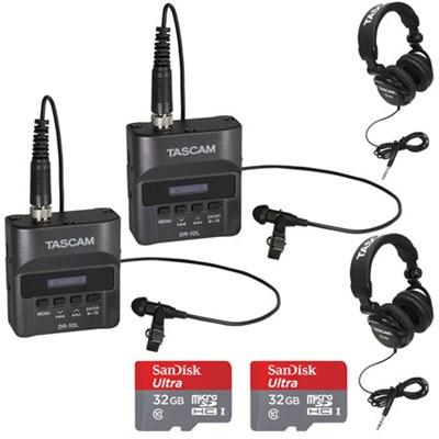 DR-10L Portable Digital Studio Recorder w/Lavaliere Mic 2-Pack Bundle