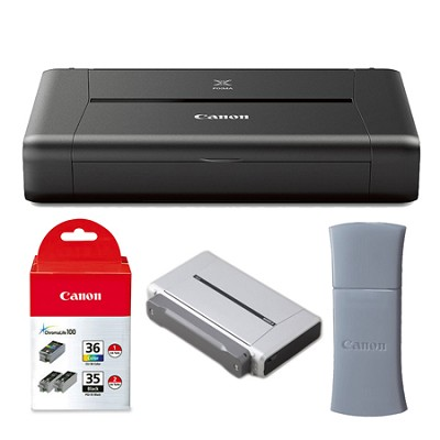 PIXMA iP110 Mobile Photo Printer Inks, Bluetooth, and Battery Bundle