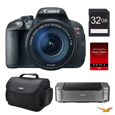 EOS T5i DSLR Camera 18-135mm Lens, 32GB, Printer Bundle