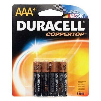 4 Pack AAA Alkaline Batteries  (Duracell CopperTop)