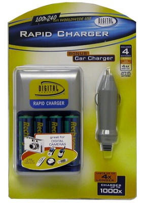 AA Rapid Multivoltage AC/DC Charger (100-240v) w/ 4 2500mah AA Batteries