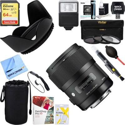 Art Wide-angle lens AF 35mm F1.4 HSM Lens for Nikon+64GB Ultimate Kit