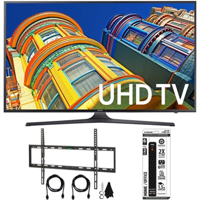 UN60KU6300 - 60-Inch 4K UHD HDR Smart LED TV w/ Flat Wall Mount Bundle