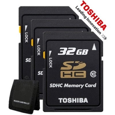 32GB Class 10 SDHC Memory Card - 3 Pack - Plus Free Memory Card Wallet!