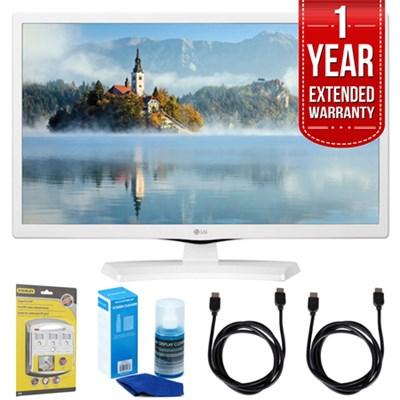 24LJ4540-WU 24` HD LED TV - White (2017 Model) w/ Extended Warranty Bundle