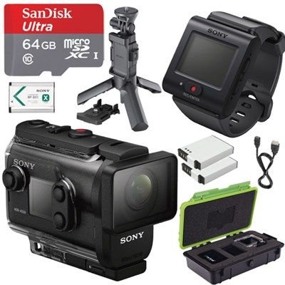 HDRAS50R/B Full HD Action Cam + Live View Remote w/ Shooting Grip and 64GB Kit