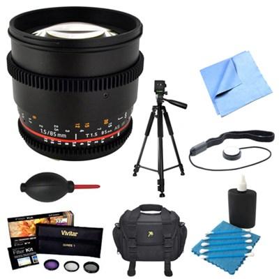 85mm T1.5 Aspherical Cine Lens for Canon EF Mount w/ Accessories Bundle