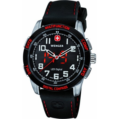 Men's Nomad LED Compass Watch - Black Dial/Black Silicone Strap/Red LED