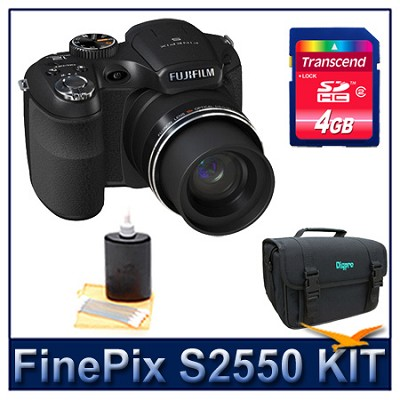 FinePix S2550 + 4GB Memory Card + Camera Case + 3pc. Lens Cleaning Kit