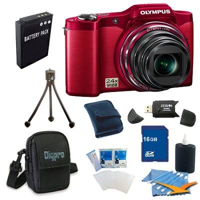 16 GB Kit SZ-12 14MP 3.0 LCD 24x Opt Zoom Digital Camera - Red