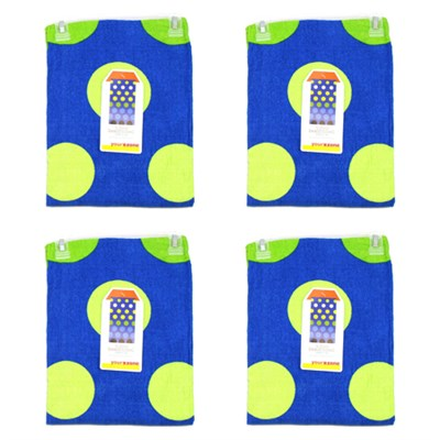 4-Pack of Cool Dot Beach Towel, Blue and Geen