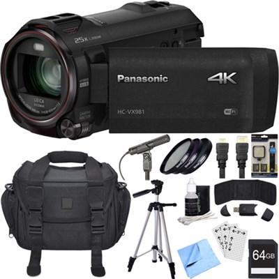 HC-VX981K 4K Ultra HD Camcorder w/ Wi-Fi + Twin Camera (Black) 64GB Card Bundle