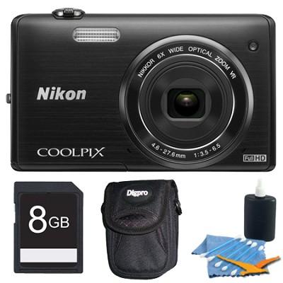 COOLPIX S5200 16 MP Built-In Wi-Fi Digital Camera - Black Plus 8GB Kit