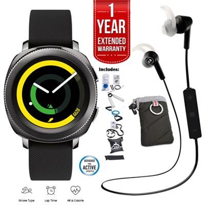 Gear Sport Watch (Black) Fitness Bundle with 1 Year Extended Warranty