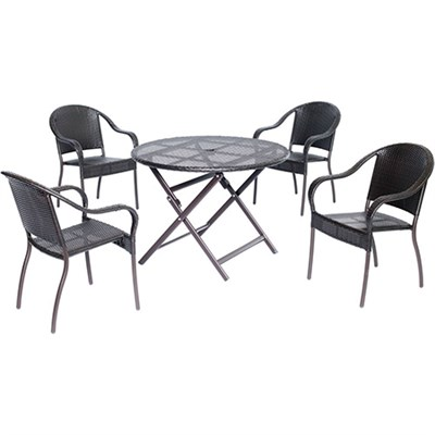 Orleans5pc Dining: 4 Aluminum Dining Chairs 1 Round Woven Table