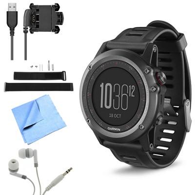 fenix 3 Multisport Training GPS Watch Gray Wrist Strap Kit Bundle