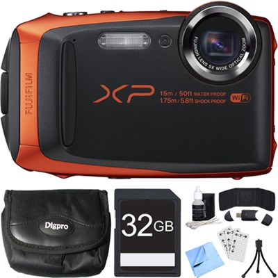 FinePix XP90 16 MP Waterproof Digital Camera Orange 32GB SDHC Card Bundle