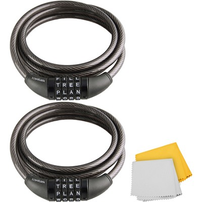 CL-422-BK 4-Dial Cable Combination Lock 2-Pack (Black, 6-Feet)
