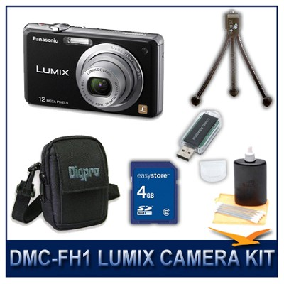 DMC-FH1K LUMIX 12.1 MP Digital Camera (Black), 4G SD Card, Card Reader & Case
