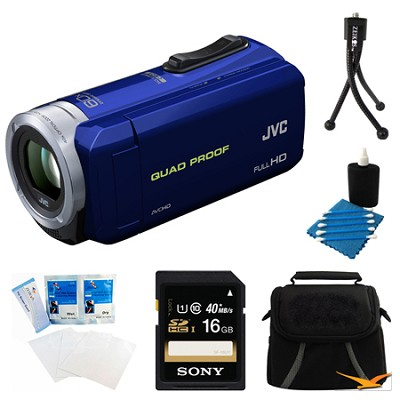 GZ-R10A Quad Proof Blue 2.5 MP HD Camcorder and 16GB Card Bundle