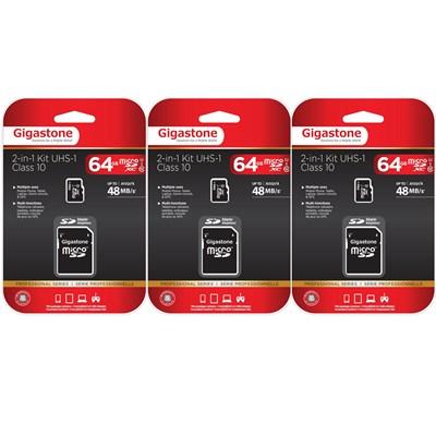 MicroSDXC 64GB C10 U1 with SD Adapter 3-Pack Bundle