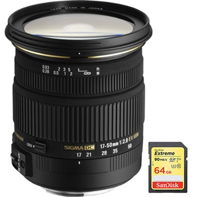 17-50mm f/2.8 EX DC OS HSM FLD Zoom Lens f/Canon DSLR Camera w/ 64GB Memory Card