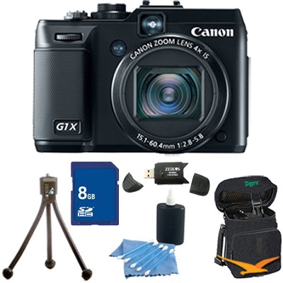 Powershot G1X 14.3 MP Digital Camera 1080p Video 3.0` Vari-Angle LCD 8 GB Bundle