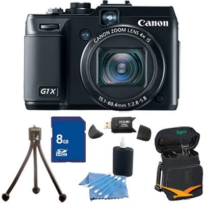 Powershot G1X 14.3 MP Digital Camera 1080p Video 3.0` Vari-Angle LCD 8 GB Bundle