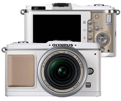 E-P1 Micro Four Thirds SLR Camera with Silver 14-42mm Lens (White)