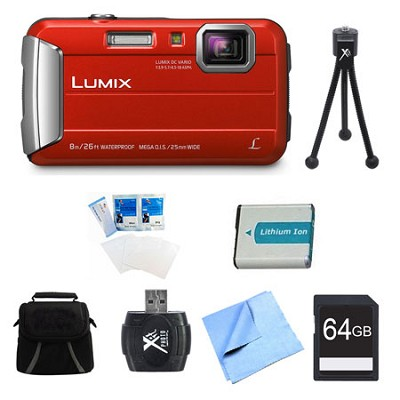 LUMIX DMC-TS30 Active Tough Red Digital Camera 64GB Bundle