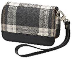 Premium Compact Leather Case (Gray Plaid)