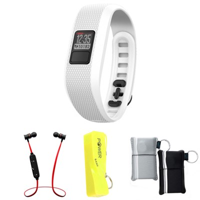 Vivofit 3 Activity Tracker Fitness Band Regular Fit - White w/ Power Bank Bundle