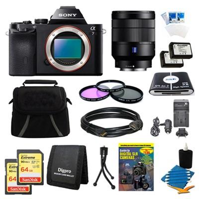 Alpha 7 a7 Digital Camera, 24-70mm Lens, 2 64 GB SDHC Cards, 2 Batteries Bundle