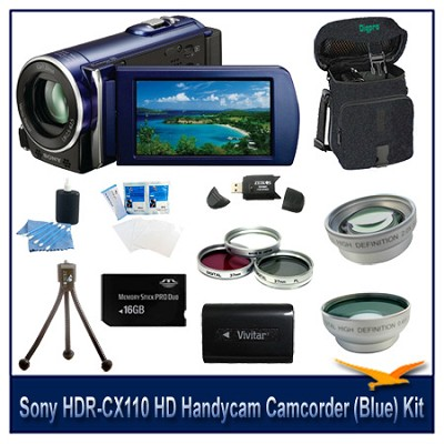 HDR-CX110 HD Handycam Camcorder (Blue)With 16GB Memory  card, Case, and more