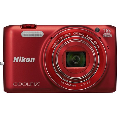 COOLPIX S6800 16MP 1080p HD Video Digital Camera - Red